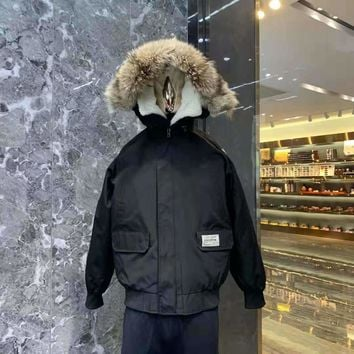 Canada Goose Woman Men Down Coat Cardigan Jacket Windbreaker(Wolf hair collar)