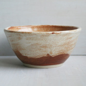 Ceramic Bowl - Handmade Prep Bowl - in Creamy Rust Colored Glaze - Stoneware Pottery Bowl