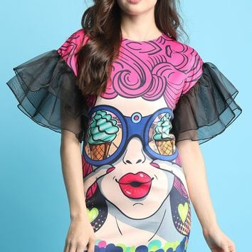 Pop Art I Spy Ice Cream Shift Dress