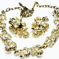 Vintage Rhinestone Leaf Demi Set - Leaves Necklace - Leaves Clip on Earrings with Pearls & Rhinestones - Vintage Brides Wedding Jewelry
