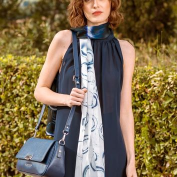 Sara-Silk Chiffon Wrap-Navy Blue