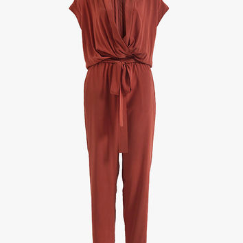 Drap V Neck Silk Jumpsuit
