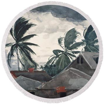 Hurricane In Bahamas - Round Beach Towel