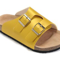 2017 New STYLE Birkenstock Summer Fashion Leather Cork Flats Beach Lovers Slippers Casual Sandals For Women Men Couples Slippers size 36-45 mac593