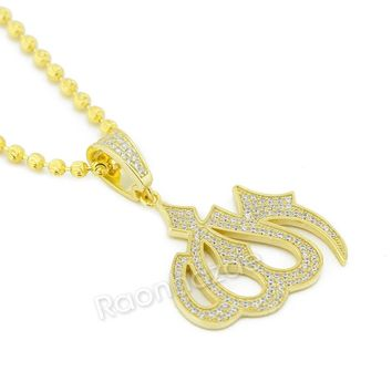 Sterling Silver .925 AAA Lab Diamond Bling Muslim Allah w/2.5mm Moon Cut Chain 5