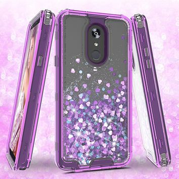 LG Stylo 4 Case, Stylo 4 Plus, Q Stylus Case,Hard Clear Glitter Sparkle Flowing Liquid Heavy Duty Shockproof Three Layer Protective Bling Girls Women Cases for LG Stylo 4 - Purple