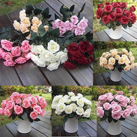 Artificial 1 Bouquet / 12 Heads Silk Rose Flower Leaf Wedding Party Bridal Decor = 1933070788