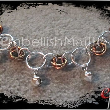 Eternal Rose Chainmaille Anklet w/ Bells! Rosette/Mobius/Flower Petal Anklet Customized for your personal style and Hypoallergenic!