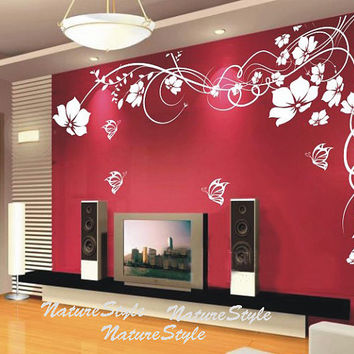 girl wall decals flower wall decal butterflies decal nursery wall decal office wall decal children wall decal-White Flower with Butterflies