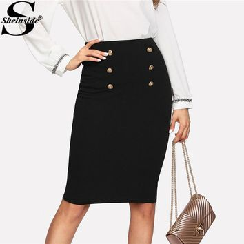 Sheinside Black Double Button Women Skirt High Waist Knee Length Solid Pencil Skirt Spring OL Elegant Skirt