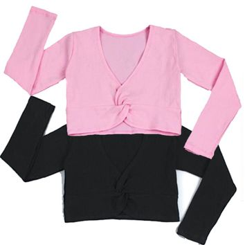 Fashion Girl Ballet Gymnastic Leotard Jacket Long Sleeved Dance Sweater Top Coat Kids Dance Clothing Jacket Wrap Ballet