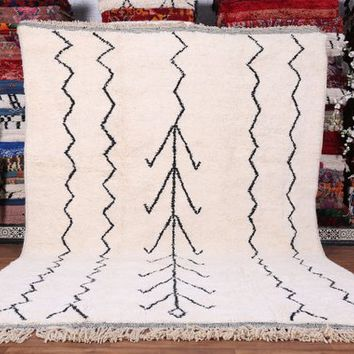 Large Authentic white Moroccan rug, Handmade by 100% genuine lamb wool moroccan wool authentic beni ourain area rug moroccan