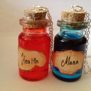 Health and Mana Potion Bottles Pendant Set BOTH POTIONS