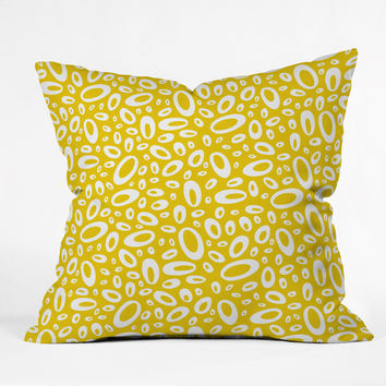 Heather Dutton Molecular Yellow Outdoor Throw Pillow