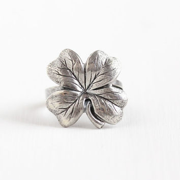 Vintage Sterling Silver Four Leaf Clover Ring - Retro Adjustable Size 7 Statement Shamrock Good Luck Jewelry