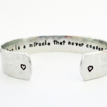 Personalized Secret Message Bracelet, Inspirational, Quote Jewelry, Graduation Gift, A daughter is a miracle... Custom Stamped Cuff Bracelet