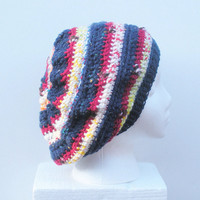 Super Slouch Hat in red, white and blue multicolor stripes, ready to ship.