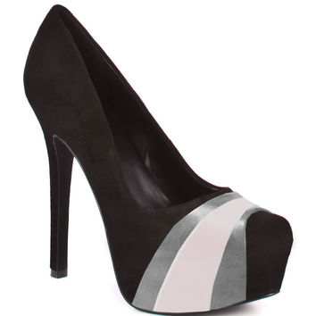 HERSTAR™ Black Grey White Team Color Suede Pumps