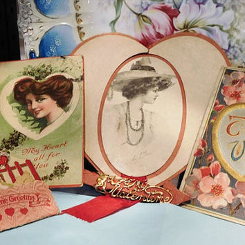 Victorian Valentines Postcards Cards Art Nouveau Scrapbook Glamour Postcard Cupid Love Hand Made
