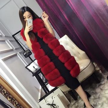 Fur Vest Faux Coat Real Sale Sleeveless O-neck Rabbit 2017 New Fashion Imitation Fox Long Paragraph Lady Woman