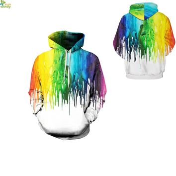 Rainbow Paint Drops Sweatshirts Autumn Long Sleeve Hooded Pullovers Winter Warm Skateboarding Hoodies Oversized Mens Sport Suits