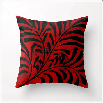Decorative Throw Pillow Parisian Red design, accent cushion, pillow cover, cushion cover, red and black pillow, home decor, sofa pillows