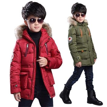 New baby Boys Winter Coat 5 to14 Years Hooded Children Patchwork Down Baby Boy Winter Jacket Boys Kids Warm Outerwear Parks