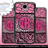 Pink Leopard Monogram Galaxy S4 case S5 Giraffe Zebra Print Cheetah Personalized Samsung Galaxy S3 Case Note 2 3 Cover