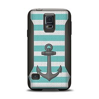The Teal Stripes with Gray Nautical Anchor Samsung Galaxy S5 Otterbox Commuter Case Skin Set