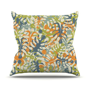 "Julia Grifol ""Summer Tropical Leaves"" Green Orange Throw Pillow"