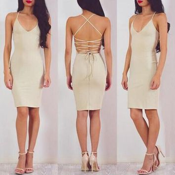Khaki Plain Cross Back Spaghetti Straps Lace-up Backless Pencil Mini Dress