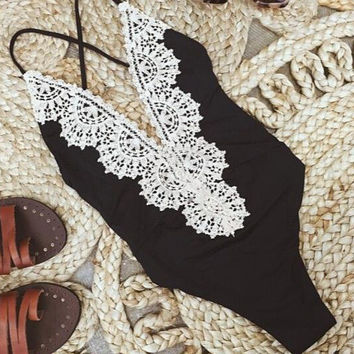 New Arrival Swimsuit Summer Hot Lace Mosaic Swimwear Beach Sexy Slim Bikini [6033360897]