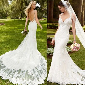 LORIE  2019 New Arrivals Beach Wedding Dresses White ivory Sexy Backless Lace Appliques Mermaid Wedding Long tail Bridal Gowns