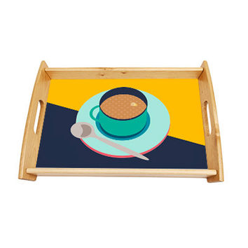 Serving Tray Colourful Retro Style Tea Cup Illustration