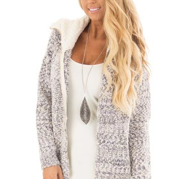 Blue Ivory Two Tone Zip Up Sweater Cardigan