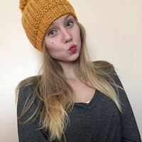 Chunky Knit Pom Pom Winter Hat • Golden Yellow • Pom Pom Beanie • STANDARD Knit •