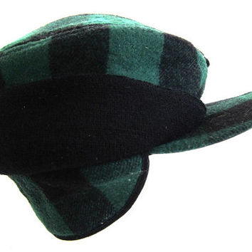 Mens Vintage Winter Hat // green and black lumberjack hat with ear flaps / large