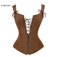 Kimring Sexy Steampunk Corset Retro Faux Leather Brown Corset Overbust Lace Up Back Vest Corset Body Shaper Corselet for Women
