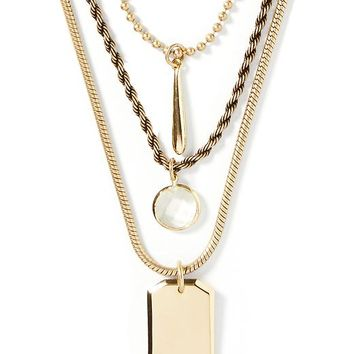 Banana Republic Dog Tag Necklace Size One Size - Gold