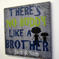 Boys Bedroom Custom Sign Personalized Pallet Theres No Buddy Like A Brother Gray Bedroom Decor Shabby Chic Rustic Farmhouse Chic Handmade