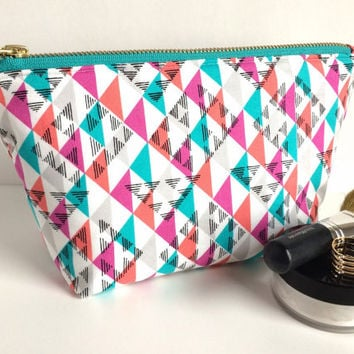 Large Makeup Bag, Large Zipper Pouch, Large Pencil Pouch, Cosmetic Case, Boho Makeup Bag