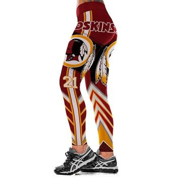 Football Team Washington Redskins 3D Printed Workout Leggings For Joggers Fitness Legging High Waist Elastic Gymnasium Leggins