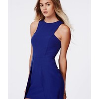 Missguided - Flo Crepe Asymmetric Hem Bodycon Dress Cobalt