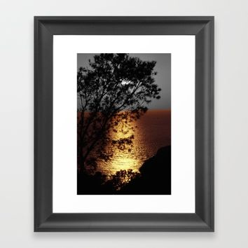 Gold silver sunset black and white with color Framed Art Print by Mr Splash