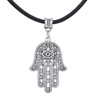 High Quality Good Luck Protection Hamsa Symbol Fatima Hand Evil Eye Pendant Chain Necklace