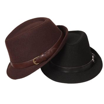 FS Spring And Autumn Men Wool Fedora Jazz Hat The Trend Of Women Wide Brim Winter Fedoras Hats