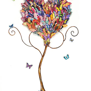 Watercolour Painting, Print, Giclee, Love, Butterflies, Home Decor Wall Art, Girl's Room, Teenager, Nursery, Family Room,  Heart, Colourful