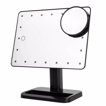 20 LED Touch Screen Makeup Mirror Portable 10X Magnifier
