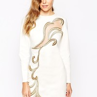 Forever Unique Paige Body-Conscious Dress with Metallic Swirl
