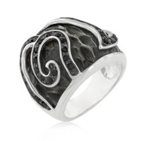 Black Cubic Zirconia Snake Inspired Cocktail Ring, size : 05